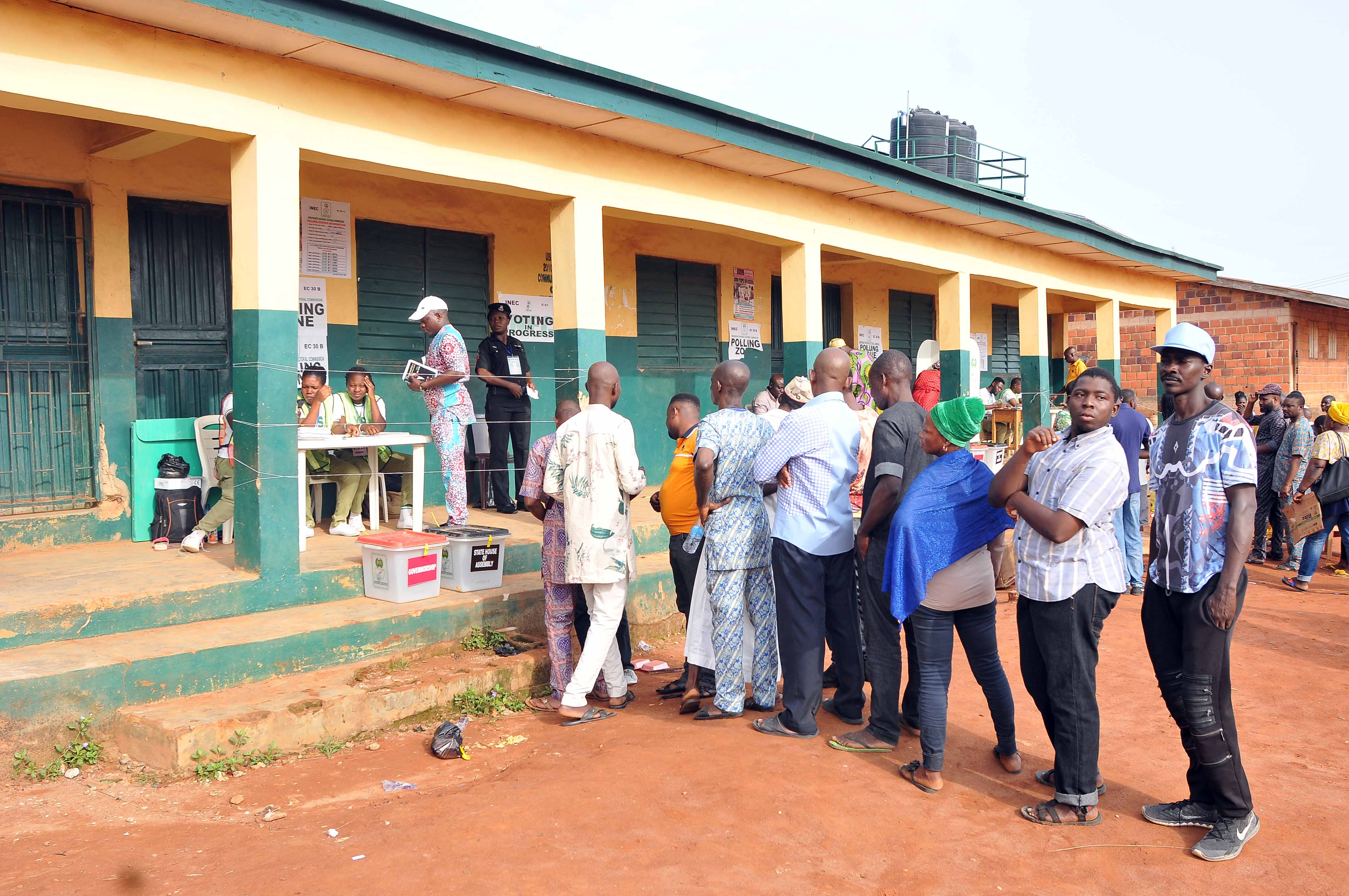 FILE: Voters on queue at a polling unit