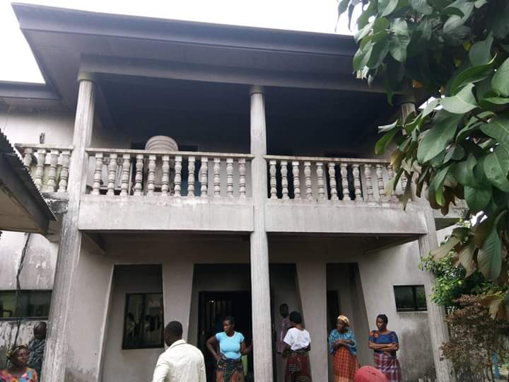 Chief Sampson Agbaru's house before it was burnt by cultists
