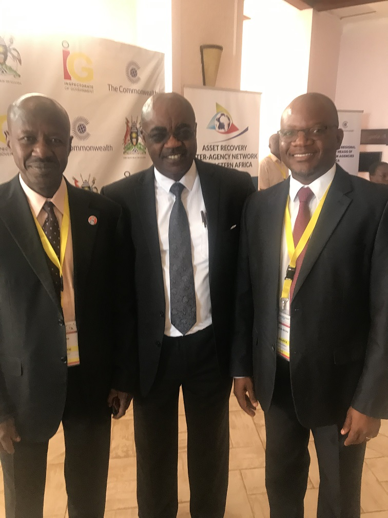 L-R: Acting Chairman of Economic and Financial Crimes Commission (EFCC), Mr Ibrahim Magu; Principal Specialist, Governance and Anti-Corruption, Commonwealth Secretariat, Dr Roger Koranteng and Director General, Anti- Corruption Bureau, Malawi, Mr Reyneck Matemba, during the 9th Commonwealth Regional Conference for Heads of Anti-Corruption Agencies in Africa in Kampala, Uganda... on Wednesday, May 8, 2019.