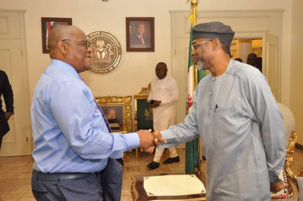 Rivers State Governor, Nyesom Ezenwo Wike and Majority Leader of the House of Representatives, Femi Gbajabiamila on Wednesday at the Government House Port Harcourt when he granted audience to the Majority Leader and his Campaign Team.