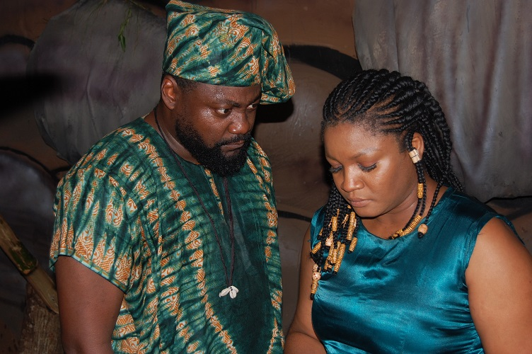 Yemi Blaq and Omotola on the set of 'Shadow Parties'