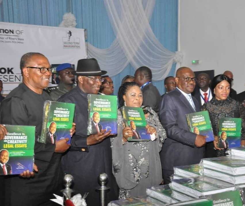 L-R: 2019 PDP Vice Presidential Candidate and Former Anambra State Governor,  Peter Obi, Former President Goodluck Jonathan, his wife,  Dame Patience Jonathan,  Rivers State Governor,  Nyesom Ezenwo Wike and his wife,  Justice Eberechi Suzzette Nyesom-Wike at a Lecture/Book Presentation to mark the Second Term Inauguration of Rivers State Governor,  Nyesom Ezenwo Wike in Port Harcourt on Monday