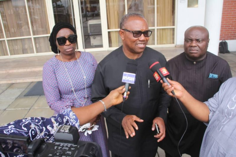 Former Anambra State Governor, Peter Obi (m) , Senator Uche Ekwunife (l) and Senator-elect Sandy Onoh in an interview with journalists after the book presentation on Governor Wike in Port Harcourt on Monday