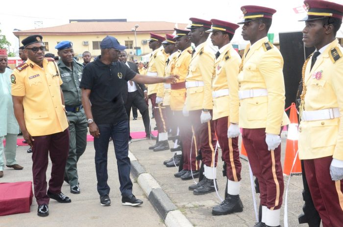 From left: General Manager, Lagos State Traffic Management Authority (LASTMA) Mr Olawale Musa and Governor of Lagos State Mr Babajide Sanwo-Olu Inspecting Guards During His visit to the Headquarters of the Lagos State Traffic Management Authority (LASTMA) in Lagos on Friday/14/06/19/OOA/NAN