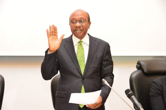 Emefiele being sworn in for the second time as CBN Governor on Monday, June 3, 2019