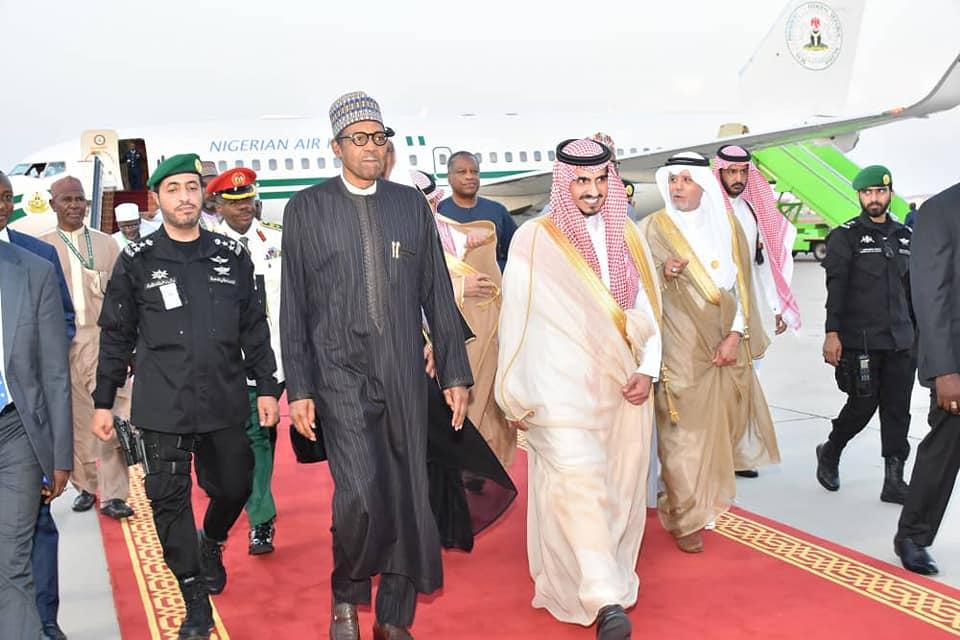 President Buhari arrives the Royal Terminal of King Abdulaziz International Airport Jeddah, Kingdom of Saudi Arabia for the 14th session of the Summit Conference of the Organisation of Islamic Cooperation, OIC. He was received by Prince Abdullah bin Bandar bin Abdulaziz Al Saud, Deputy Governor of Makkah region. Thursday, May 30, 2019.