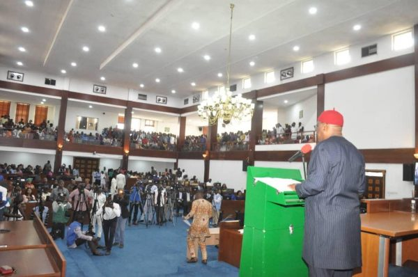 Rivers State Governor, Nyesom Ezenwo Wike proclaiming the 9th Rivers State House of Assembly at the Assembly Complex, Port Harcourt on Monday.