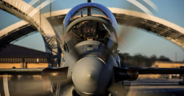 An 81st Fighter Squadron pilot starts the engine in an A-29 Super Tucano Jan. 8, 2015, at Moody Air Force Base, Ga. The A-29 is a turboprop aircraft designed for light air support (LAS) and will be used to support the Afghan LAS training mission at Moody. (U.S. Air Force photo by Senior Airman Ryan Callaghan/Released)