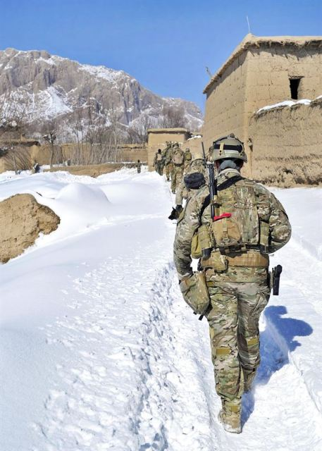 Afghan police and coalition special operations forces conduct a patrol in the Shah Joy district in Afghanistan's Zabul province, Jan. 27, 2012. The police serve as a defensive, community-oriented force to bring security and stability to rural areas of Afghanistan