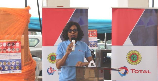 Mrs Bunmi Popoola-Mordi, Executive General Manager, Total Country Services, at the official launch of the Community HIV/AIDS, Tuberculosis and Malaria Preventive Education Project by Total Upstream Nigeria Ltd. and Total Nigeria Plc on July 18, 2019 at Ijebu-Ode, Ogun State (NAN photo)