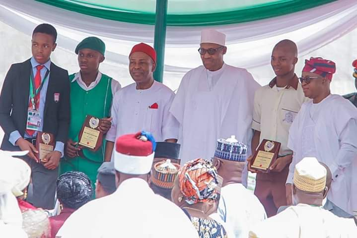 President Buhari with the lucky students