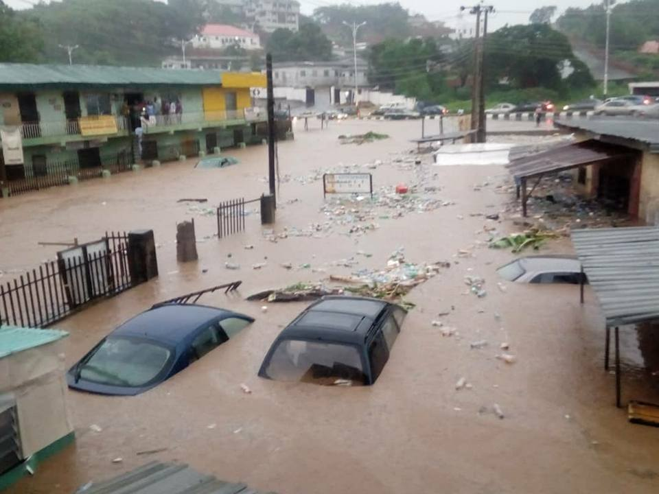Vehicles and houses submerged by flood recently in Ogun State
