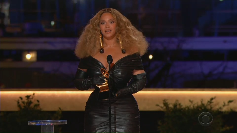 """Beyonce wins the Grammy for Best R&B Performance for """"Black Parade"""" in this screen grab taken from video of the 63rd Annual Grammy Awards in Los Angeles, California, U.S., March 14, 2021. CBS/Handout via REUTERS"""