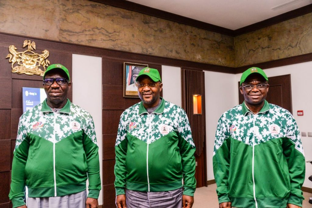 Obaseki, Dare and Shuaib during meeting on the National Sports Festival on Friday