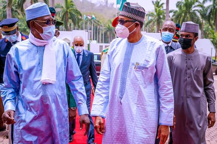 President Buhari and President Idriss Deby Itno of Chad during his visit to Abuja just before his death