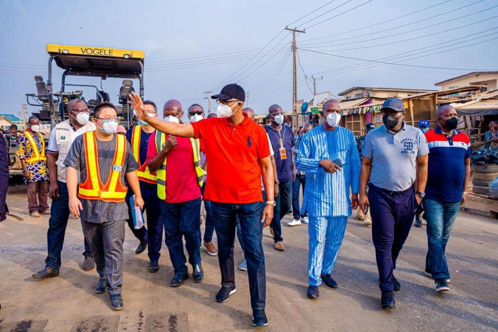 Governor Abiodun inspecting road projects in Abeokuta