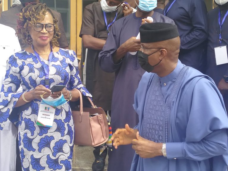 The Deputy Senate President, Sen. Ovie Omo-Agege (R) immediately after the APC South-South Zone Town Hall Meeting for Constitution Review on Saturday in Asaba, Delta on Saturday, March 27, 2021 (NAN photo)