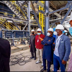 Governor Sanwo-Olu, right, Alhaji Dangote and other officials during the tour of Dangote refinery recently.