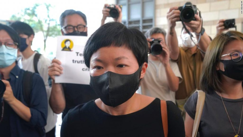 Hong Kong journalist Choy Yuk-ling, also known as Bao Choy, arrives a court in Hong Kong Thursday, April 22, 2021.??Hong Kong journalist Choy Yuk-ling appeared in court on Thursday for verdict on charges of making false statements while obtaining information from a vehicle database. Choy, a producer at public broadcaster Radio Television Hong Kong, was arrested in Nov 2020. She was involved in the production of an investigative documentary into the behavior of Hong Kong police during 2019 anti-government protests, after the force was accused of not intervening during a violent clash between protesters and a mob of men in a subway station. (AP Photo/Kin Cheung