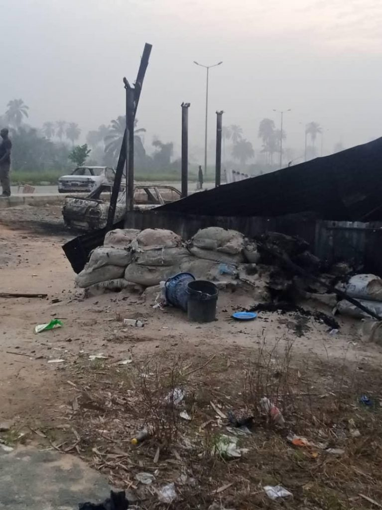 One of the checkpoints where the suspected IPOB gunmen killed the security operatives