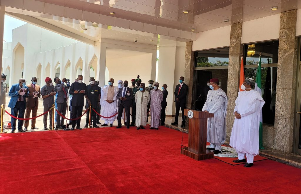 President Muhammadu Buhari during press briefing with the newly inaugurated President of Republic of Niger, Mohamed Bazoum, who was in Nigeria on his first international visit: