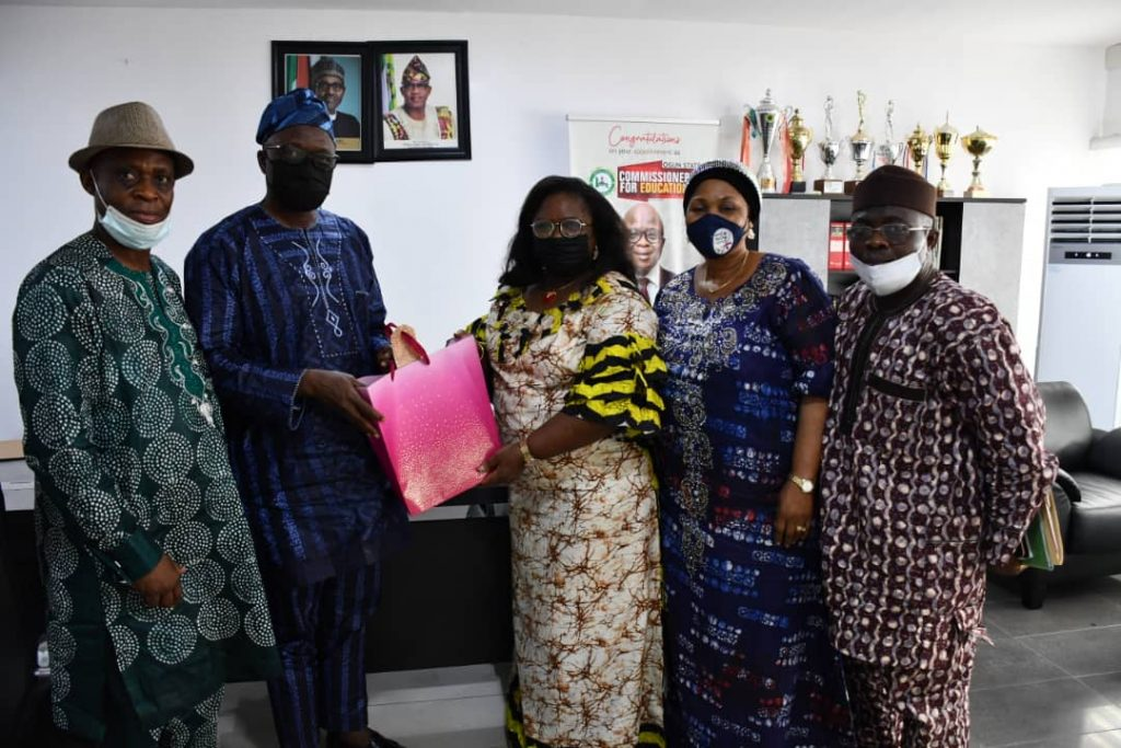 Chairman, Ogun Independent Electoral Commission, OGSIEC, Mr. Babatunde Osibodu (4th from right) during a chat with OGIS correspondent in his office at Oke-Ilewo, Abeokuta,