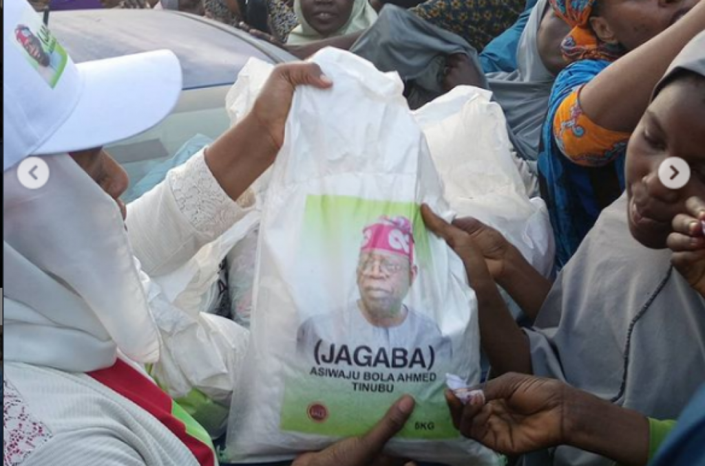 Images depicting the face of the APC leader on bags of rice was recently being circulated on some social media platforms.