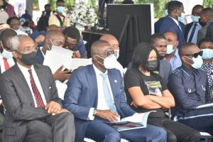 From Left, Speaker, House of Representatives, Mr Femi Gbajabiamila; Gov. Babajide Sanwo-Olu of Lagos State, wife of the late Afenifere Spokesman, Dr Joe Okei-Odumakin and General Overseer Trinity House, Pastor Ituah Ighodalo, during the Lying in State of Late Yinka Odumakin at Police College, Ikeja, Lagos on Thursday