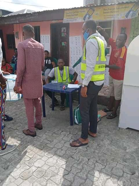 Staff of Rivers State Independent Electoral Commission, RSIEC setting up for the conduct of the local government election in one of the polling units