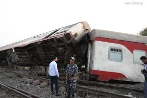Photo taken on April 18, 2021 shows the scene of a train derailment in the Delta city of Toukh, Egypt. At least 97 people were wounded in a train derailment on Sunday in the Delta city of Toukh, north of the Egyptian capital Cairo, the Egyptian Health Ministry said. (Xinhua/Ahmed Gomaa).
