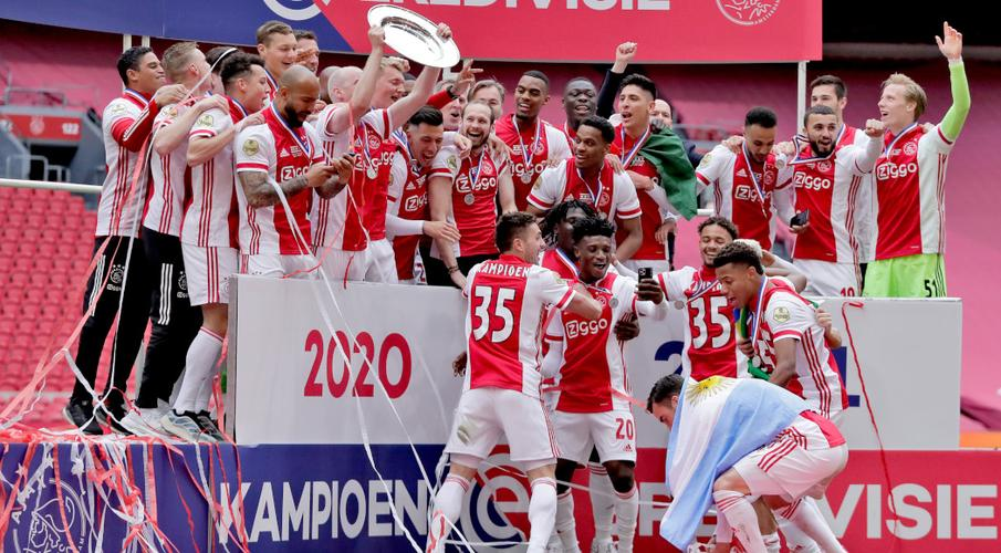 Ajax secured their 35th Dutch championship after beating FC Emmen 4-0 in Amsterdam on Sunday.