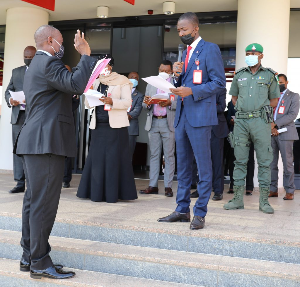 Bawa admistering oath to one of the officials of EFCC