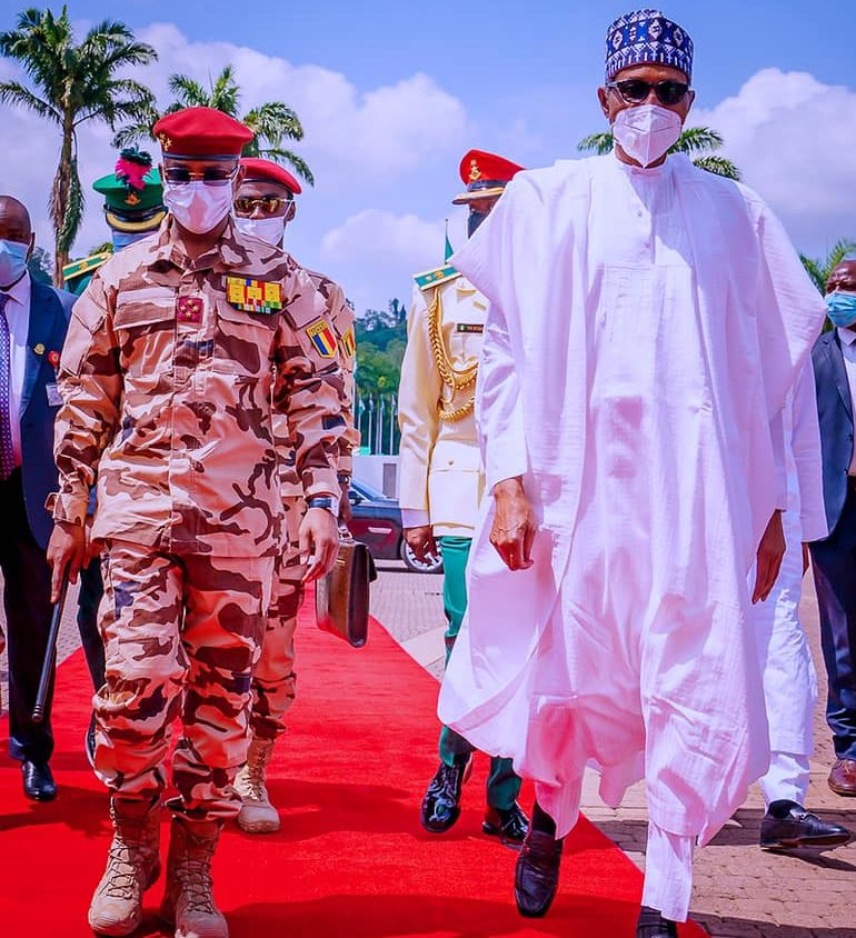 President Muhammadu Buhari and Lt.-Gen. Mahamat Idriss Deby, the President, Transitional Military Council of Chad, at the State House, Abuja.