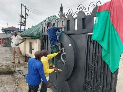 Yenagoa office of NDDC sealed and Ijaw Youth Council, flag hung at the gate.
