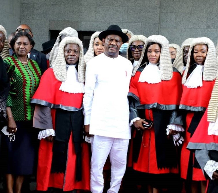 L-R: Deputy Governor of Rivers State, Dr. (Mrs.) Ipalibo Harry-Banigo; Justice Simeon. C. Amadi, Governor of Rivers State, Nyesom Ezenwo Wike, Justice Eberechi Suzzette Nyesom Ezenwo and Chief Judge of Rivers State, Hon. Justice Adama Iyayi-Lamikanra, during a valedictory ceremony in honour of Justice Iyayi-Lamikanra in Port Harcourt on Tuesday.