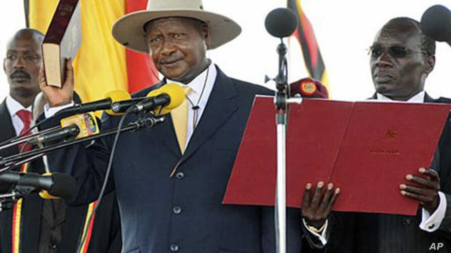 President Yoweri Museveni being sworn in on Wednesday to serve for the sixth five-year term in office.