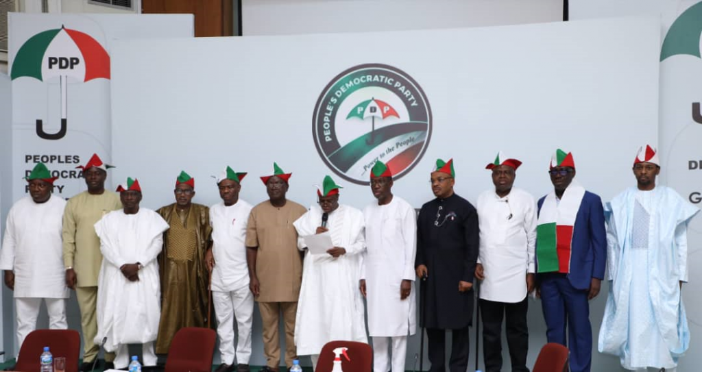 Governor of Rivers State, Nyesom Ezenwo Wike (fifth from the left) and his colleagues during Peoples Democratic Party (PDP) Governors' Forum meeting in Ibadan Oyo State on Monday.