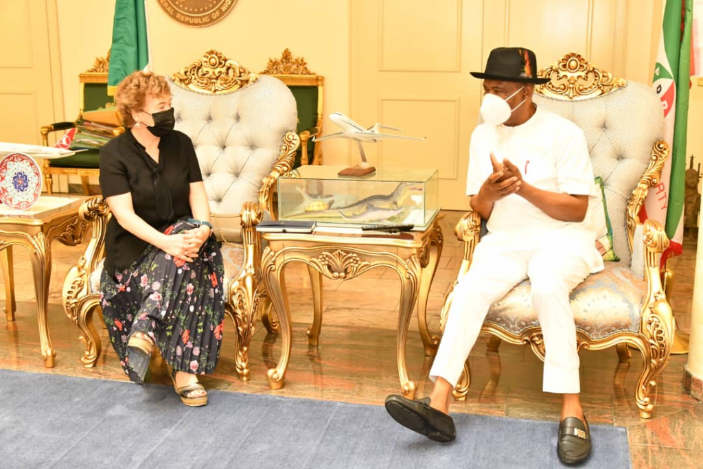Governor of Rivers State, Nyesom Ezenwo Wike (right) and the British High Commissioner to Nigeria, Her Excellency Catriona Laing, during the latter's courtesy call at the Government House, Port Harcourt on Tuesday.