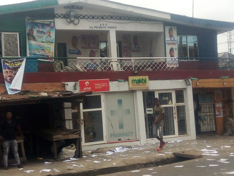 All Progressives Congress (APC) Party Secretariat in Agege LG, Lagos State, where electoral materials were scattered by hoodlums during the APC Chairmanship and Councillors primary elections on Saturday, May 29, 2021 (NAN)
