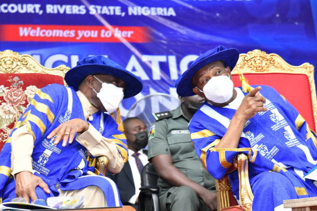 Governor of Rivers State, Nyesom Ezenwo Wike (right) and the Pro-Chancellor of PAMO University of Medical Sciences, Dr. Peter Odili during the 4th Matriculation ceremony of the institution at Elelenwo on Friday.