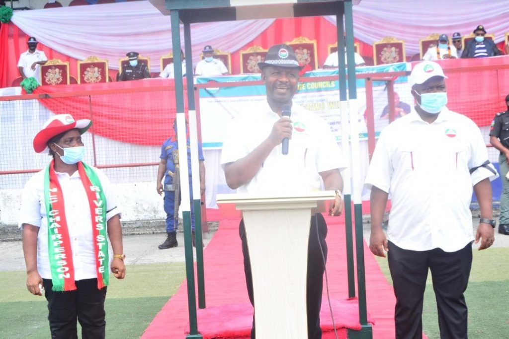 The Secretary to the State Government, Dr. Tammy Wenike Danagogo Governor Wike at the Sharks Stadium, Port Harcourt, venue of the May Day Parade