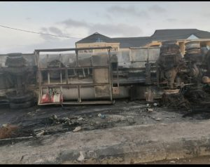 Scene of a tanker explosion at Egbeda area of Lagos State on Tuesday morning.