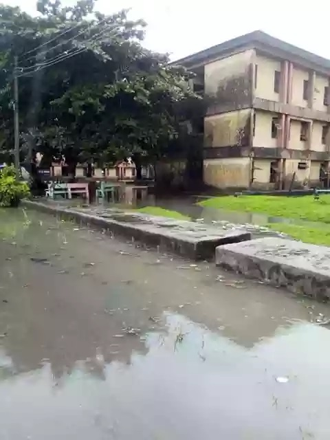 A section of the school taken over by flood
