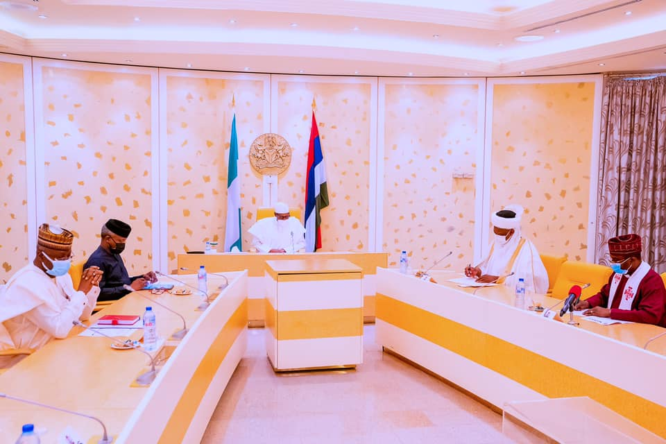 Buhari and Osinbajo at the meeting with the religious leaders
