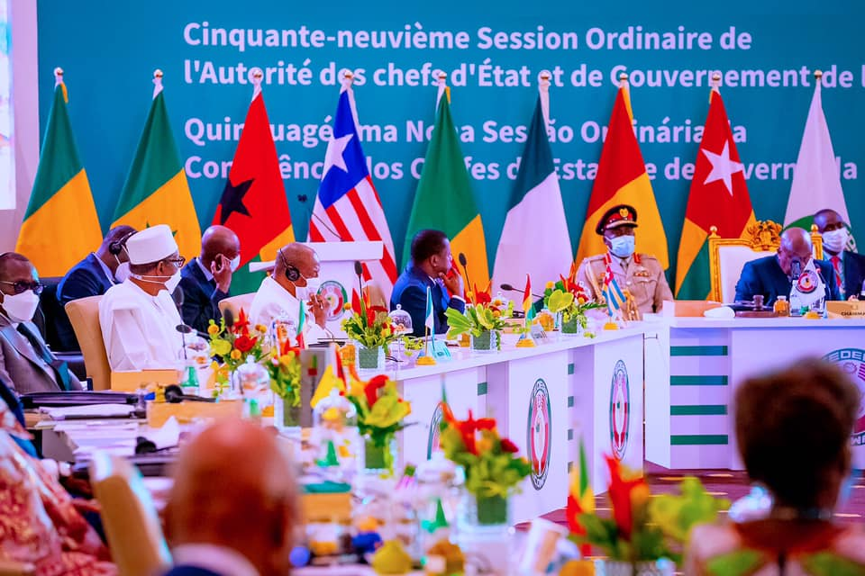 President Buhari and other leaders at the 59th Ordinary session of the Authority of Heads of State and Government of ECOWAS in Accra, Ghana, on Saturday.