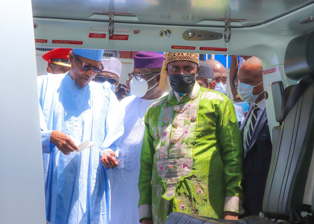 L-R: President Muhammadu Buhari;  Minister of Transportation, Rt. Hon. Rotimi Amaechi and Director General, Nigerian Maritime Administration and Safety Agency (NIMASA) Dr. Bashir Jamoh inspecting one of the Deep Blue Assets during the official launch of the Deep Blue Project in Lagos on  Thursday, June 10, 2021.