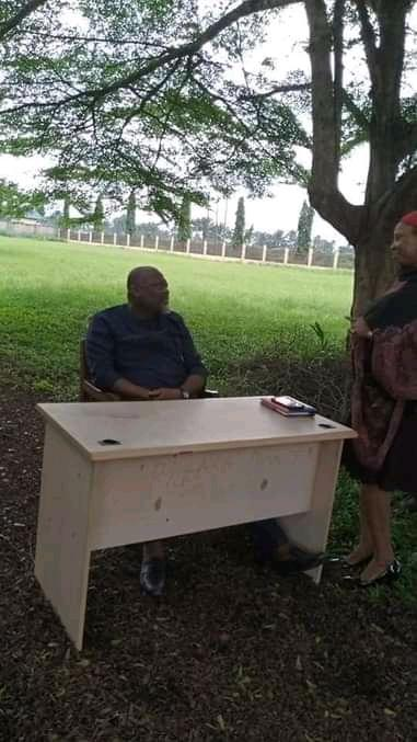 Chairman of Emohua Local Government area in Rivers State, Dr. Chidi Lloyd, resumed duty on his first day of office  under trees.