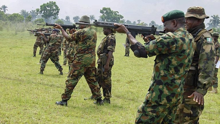 Nigerian Army officers at a shooting range
