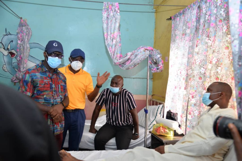 Governor Obaseki during visit to some of the injured players