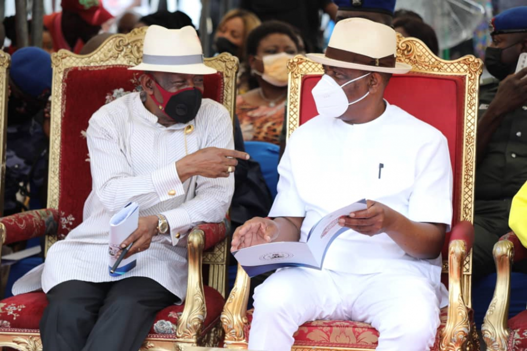 Governor of Rivers State, Nyesom Ezenwo Wike (right) and member representing Port Harcourt federal constituency 1, Hon. Kenneth Anayo Chikere during the flag off of dualisation of Ogbum-nu-Abali/Eastern By Pass Road, Port Harcourt on Tuesday.